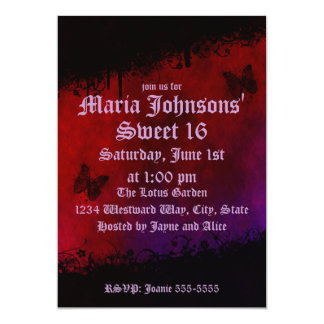 Gothic Butterflies Birthday 13 Cm X 18 Cm Invitation Card
