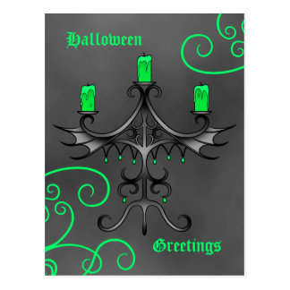 Gothic candelabra Halloween pretty green and gray Post Cards