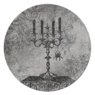 Gothic Candlestick with Spider, Halloween Plate