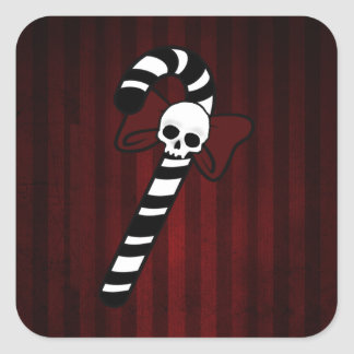 Gothic Candy Cane Square Sticker