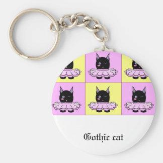 Gothic cat keychain