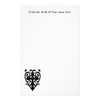 Gothic cemetery celtic cross in heart custom stationery