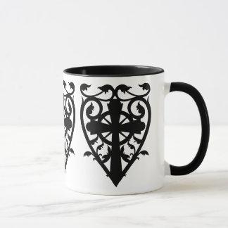 Gothic cemetery celtic cross in heart mug