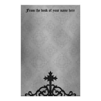 Gothic cemetery gate cross customized stationery