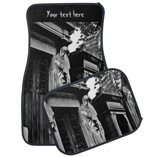 Gothic cemetery mourner statue car mat
