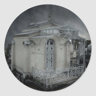 Gothic cemetery ornate crypt round sticker