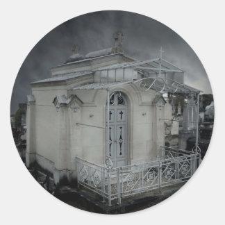 Gothic cemetery ornate crypt round sticker