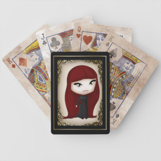 Gothic Chibi Style Vampire Girl Playing Cards