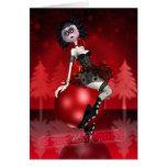 Gothic Christmas Card - Ballet Dancer - Baubles