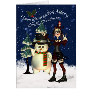 Gothic Christmas Card, H.I.P. And Snowman