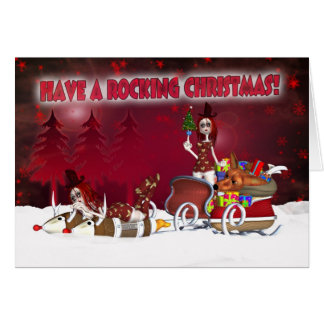 Gothic Christmas Card With Rag Dolls On Rocket Sle