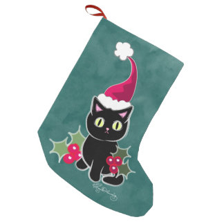 Gothic Christmas Cat Green Small Christmas Stocking