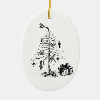 Gothic Christmas Tree Ceramic Oval Decoration