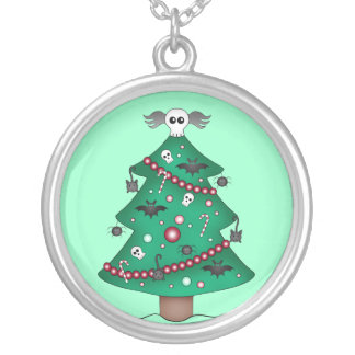 Gothic Christmas tree Silver Plated Necklace