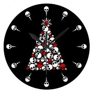 Gothic Christmas Tree Skulls Large Clock