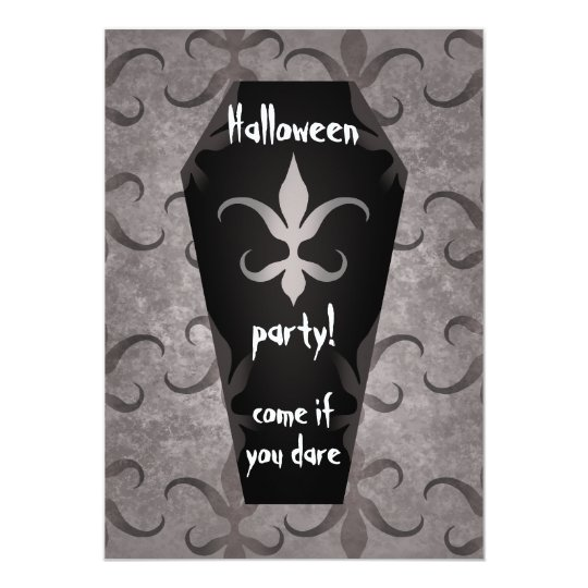 Gothic coffin Halloween party Card