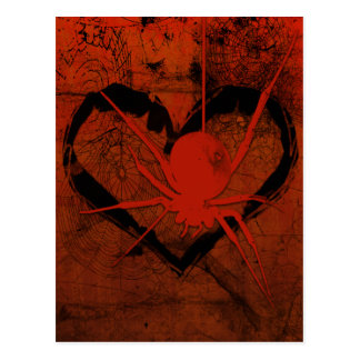 Gothic Creepy SpiderHeart Eyes Postcard