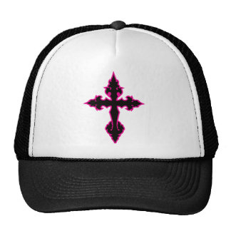 gothic cross hot pink and black trucker hats