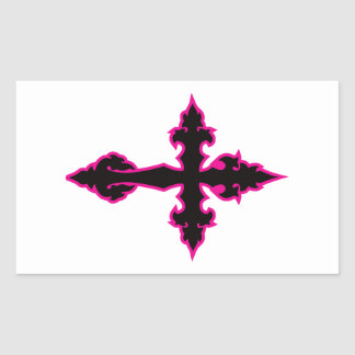gothic cross hot pink and black rectangle stickers