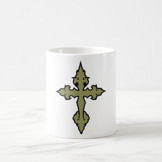 gothic cross khaki green and black basic white mug