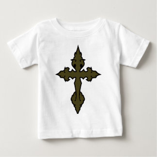 gothic cross olive drab green baby T-Shirt