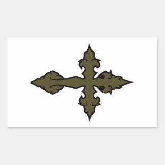 gothic cross olive drab green rectangular sticker