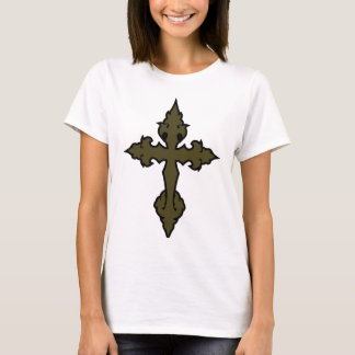 gothic cross olive drab green T-Shirt