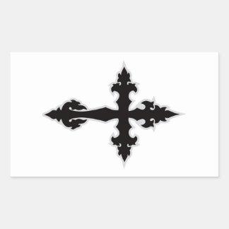 gothic cross rectangular sticker