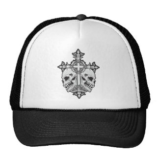 Gothic Cross with Skulls Cap