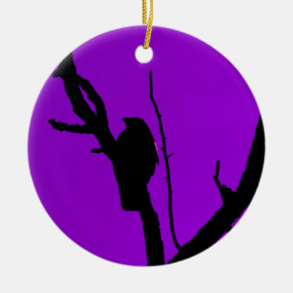 Gothic Crow on Purple Christmas Ornament