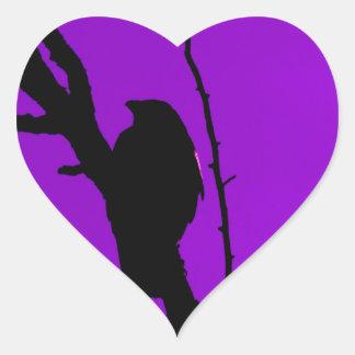 Gothic Crow on Purple Heart Sticker