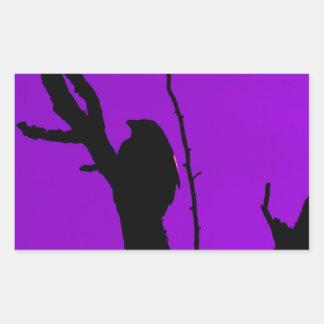 Gothic Crow on Purple Rectangular Sticker