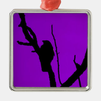 Gothic Crow on Purple Silver-Colored Square Decoration