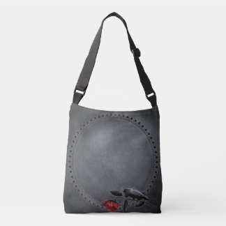 Gothic Crow on Rose Cross Body Bag