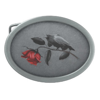 Gothic Crow on Rose Oval Belt Buckle