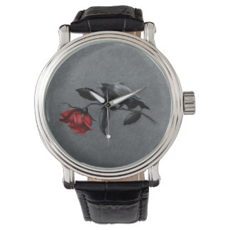Gothic Crow on Rose Vintage Watch