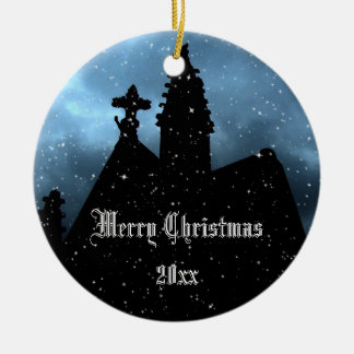 Gothic crypt Christmas ornament to personalize