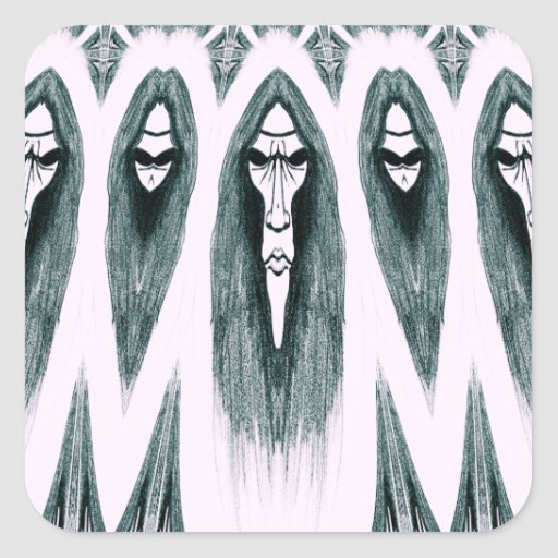 Gothic Cult Mask evil black and white drawing Sticker