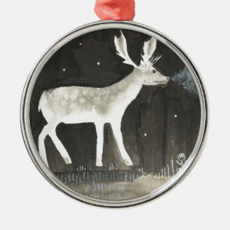 Gothic Deer, Stag at Night Ink Painting Christmas Ornament