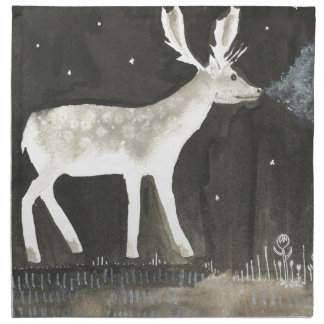 Gothic Deer, Stag at Night Ink Painting Napkin