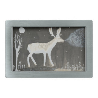 Gothic Deer, Stag at Night Ink Painting Rectangular Belt Buckle