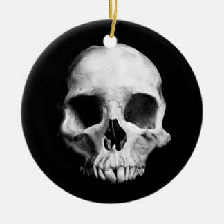 Gothic deformed skull christmas ornament