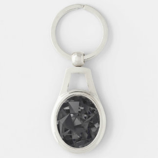 Gothic Dimensional Abstract Silver-Colored Oval Key Ring