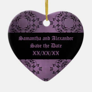 Gothic dirty purple damask casual Save the Date Christmas Ornament