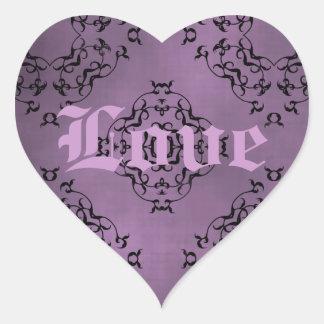 Gothic dirty purple damask Love heart Heart Sticker