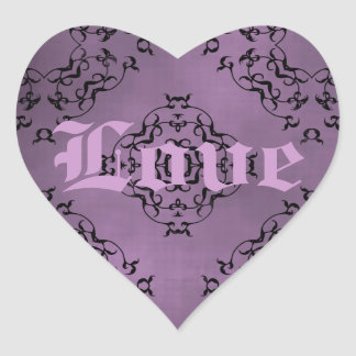 Gothic dirty purple damask Love heart Heart Sticker