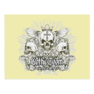 Gothic Doom Since 1989 ~ Skulls Wings Crown Postcard