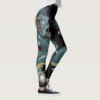 Gothic Dragon Tattoo on Black Leggings