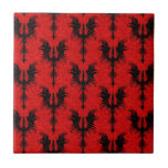 Gothic Dragons Pattern, black on red
