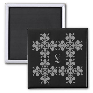 Gothic elegance fleur de lis damask monogram magnet